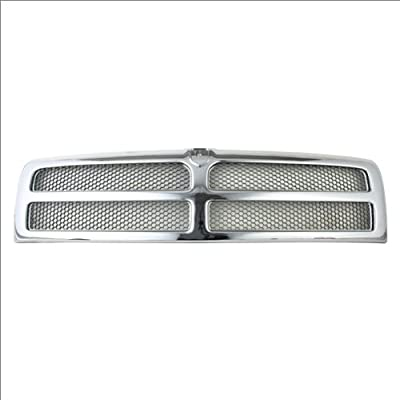 CarPartsDepot, Front Grille Grill Chrome Frame New Matte Gray Honey Comb Grid, 400-17110 CH1200178 55055252