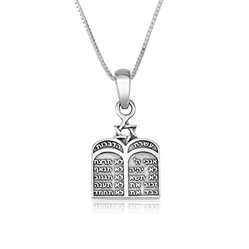 Marina Jewellery Genuine 925 Sterling Silver Chain Necklace, 10 Commandments Pendant Charm, 18 Inch Box Chain