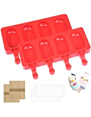 Popsicle Molds Set of 2,Large Cakesicles Silicone Mould Ice Cream Mold Oval Cake Pop Mold with 100 Wooden Sticks for DIY Popsicle