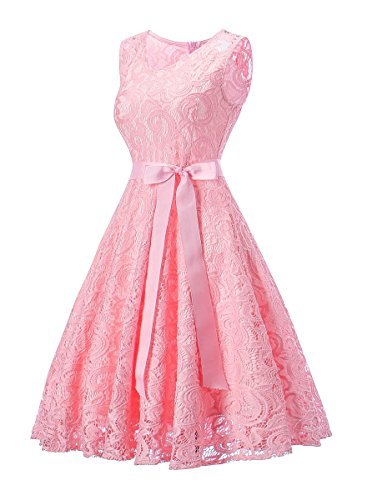 Pink Dressylady Gowns Dress Neck V Floral Party Sleeveless Prom Bridesmaid L Women's Lace Short 4w4Sgq7x
