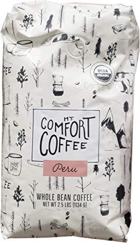 Mount Comfort Coffee Organic Whole Bean Coffee, Peru, 2.5 Pound 2.5 Lb Whole Beans