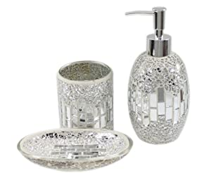 3 piece modern silver chrome sparkle mosaic glass tile - Modern bathroom accessories sets ...