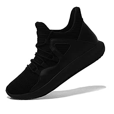 MAIERNISIJESSI Men's Women's Casual Lightweight Trainers Breathable Mesh Sneakers Running Shoes Black 37 - Men US5-Women US6.5