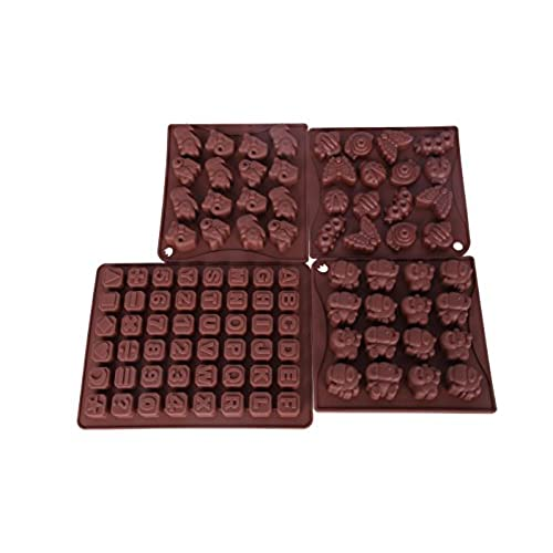 Chocolate letter amazon silicone mold bakeware set cute kitten insects elephants and alphabet letter baking pan kit for chocolate candy candle soap cakes brown spiritdancerdesigns
