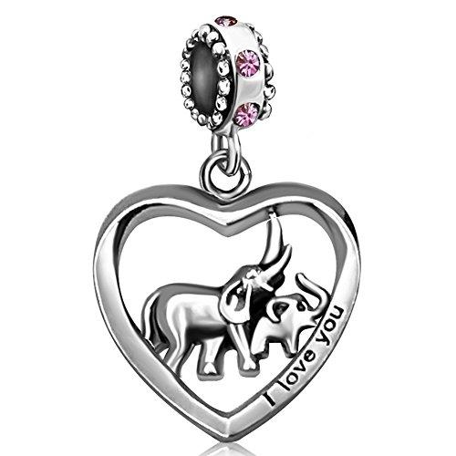 JMQJewelry Heart Mom Dad Elephant Love Baby Purple Birthstone Charms Dangle for Bracelets -