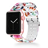 WISHTA Compatible with Apple Watch Band 38mm 42mm, Women iWatch Bands Soft Silicone Floral Pattern Replacement Wristband Compatible with Apple Watch Series 3 2 1 Band