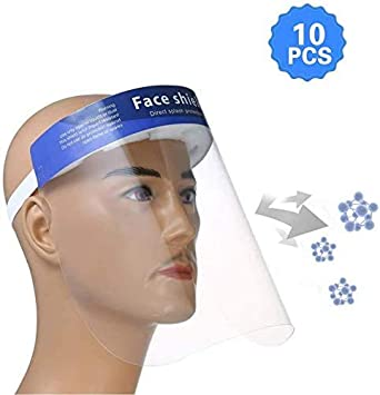 Protector facial de seguridad, 10 tiras elásticas ajustables, visera protectora transparente con protección de ojos y cabeza, cubierta facial antisalpicaduras para mujeres y hombres