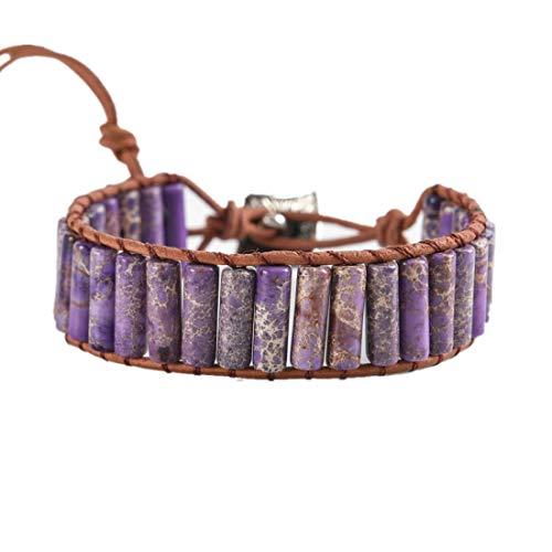 YGLINE Beaded Wrap Bracelet for Women Gemstone Beads Leather Bracelet Imperial Jasper Stone Beads Wrap Bracelet(Purple)