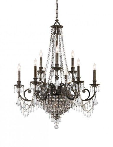 English Bronze Vanderbilt 9 Light Candle Style Chandelier with Hand-Polished Crystals