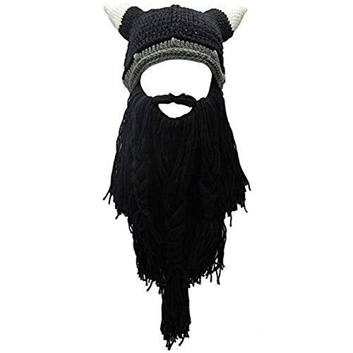(Creative Original Barbarian Knit Hair Beard Hat and Roman Knight Helmet Visor Cosplay Knit Beanie Hat (V-Black))