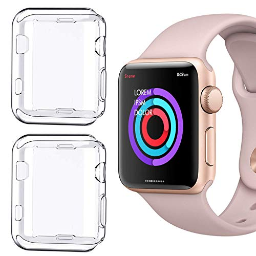 - [2 Pack] Compatible for Apple Watch Series 1 38mm Case, iMieet Soft TPU Screen Protector All-Around Protective 0.3mm HD Clear Ultra-Thin Cover Case for Apple Watch 38mm Series1