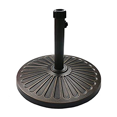 "Sunnyglade 18"" 30.2-lbs Heavy Duty Round antiqued Umbrella Base for Patio, Outdoor - Bronze"