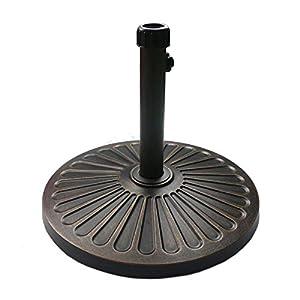 Sunnyglade 18″ 30.2-lbs Heavy Duty Round Antiqued Umbrella Base for Patio, Outdoor – Bronze