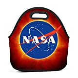 Solar Eclipse NASA Insulated Neoprene Lunch Bag Tote Handbag Lunchbox Food Container for School,Work,Office