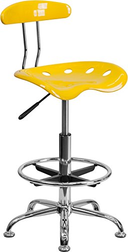 Vibrant Orange Yellow & Chrome Drafting Stool with Tractor Seat - Shop Stool, Salon Stool by Belnick