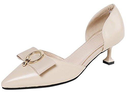 Sandalen 5CM 5 Slip Schuhe Calaier Beige Damen Calxds On Stiletto Spitzschuh qwnn8IZP