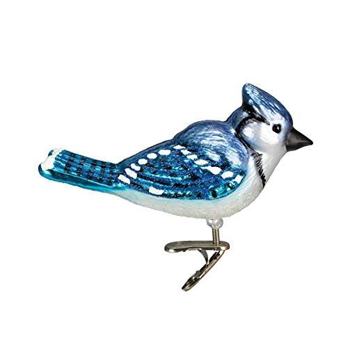 Glass Bird Christmas Ornament - Old World Christmas Ornaments: Bright Blue Jay Glass Blown Ornaments for Christmas Tree