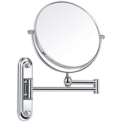 Homever with Wall Mount Mirror with 1x/7x Magnification?Round Shaped Double-Sided,Rotation 360 Degrees Ideal for Makeup and Shaving?Chrome Finished, 7X