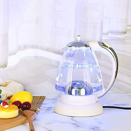 Bouilloire électrique en Verre - 1,35 Litre Bleu LED illuminé Bureau portatif Auto Mise Hors Tension Automatique en Acier Inoxydable à ébullition Rapide théière Bouilloire Rose