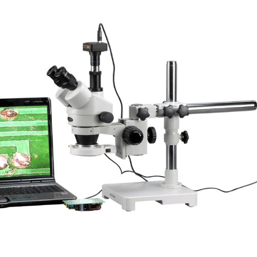 3.5X-180X LED Boom Stand Stereo Zoom Microscope + 5MP Camera by AmScope