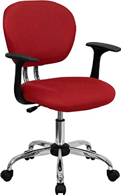 Flash Furniture H-2376-F-RED-ARMS-GG Mid-Back Red Mesh Task Chair