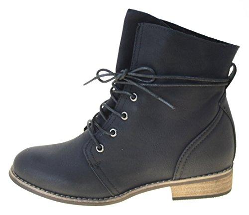 Jumex Zum Farbe Schwarz Schnüren Damenstiefeletten Boots wxRfrwq