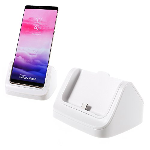 USB Type-C Desktop Fast Charging Dock, USB C Sync & Charger Cradle for Samsung Galaxy Note8 S8 Plus S8 HTC U11 U Ultra LG V30 V20 Google Pixel XL/2 Moto Z and More Cellphones - White