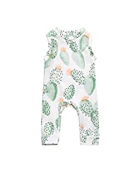 Vincent&July Newborn Baby Girl Boy Sleeveless Clothes Cactus Floral Romper Jumpsuit