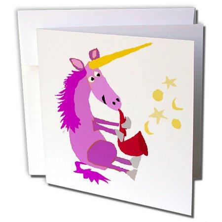 "Price comparison product image 3dRose Funny Purple Unicorn Playing Red Saxophone Original Art - Greeting Card, 6"" x 6"", Single (gc_238378_5)"