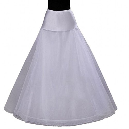 Sweetdress A-line Full Gown Floor-length Bridal Dress Gown Slip Petticoat (One Size, White)