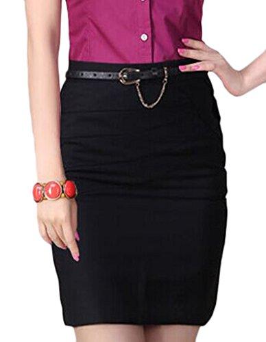 J-SUN-7 Women's Cotton Mini Skirt Office Wear Above Knee Pencil Skirt(Black,S)
