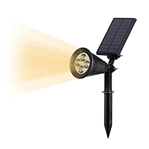 T-SUN Solar LED Outdoor Spotlight Wall Light, IP65 Waterproof,Auto-on At Night/Auto-off By Day,180°angle Adjustable for Tree, Patio, Yard, Garden, Driveway, Stairs, Pool Area (Yellow) - Giardino Post Mount