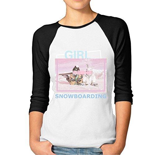 Fgjjklft Girl Snowboard Snowboarder Gift Dress Casual Women's Baseball 3/4 Sleeve Plain Raglan Shirts