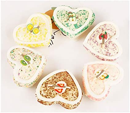 HT 6PCS Small Heart-Shaped Cake Simulation Food Artificial Fake Food Model Play Food Kids Toy Home Kitchen Party Decoration Store Market Display Photography Props, Color Random