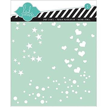 Heidi Swapp Spray Stencil by American Crafts | Stars, Hearts and Polka Dots 00838
