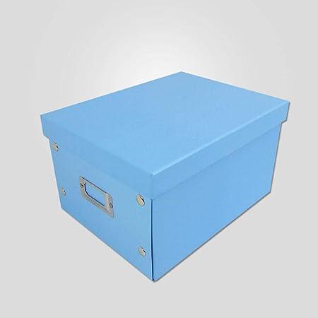 MICHELLEZH Escritorio Cartón Caja de Almacenamiento Almacenamiento Cubo Plegable Organizador Cajas de almacenaje Almacenaje Juguetes Caja para (Paquete de 2) Azul: Amazon.es: Hogar