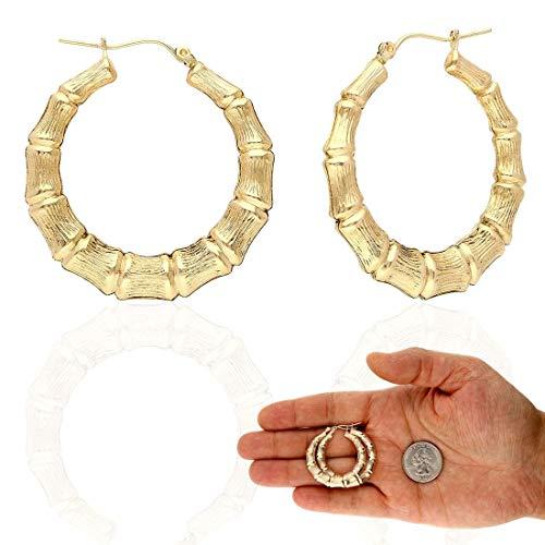 - 10K Yellow Gold Bamboo Style Lightweight Hoop Earrings 17-85mm, 36