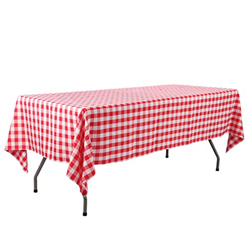 Waysle 60 x 126-Inch Rectangular Tablecloth, 100% Polyester Washable Table Cloth for 8Ft. Rectangle Table, Red and White Checker
