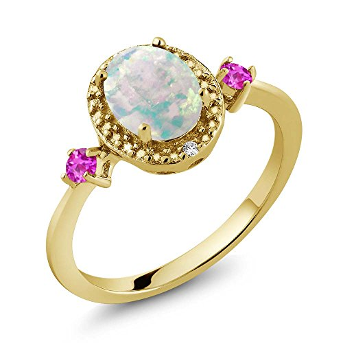 1.22 Ct Oval Cabochon White Simulated Opal Pink Sapphire 18K Yellow Gold Plated Silver Ring With Accent - Ct 1.22 Radiant Diamond