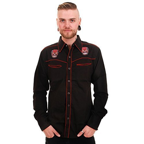 Run & Fly Men's Western Shirt Embroidered Mexican Sugar S...