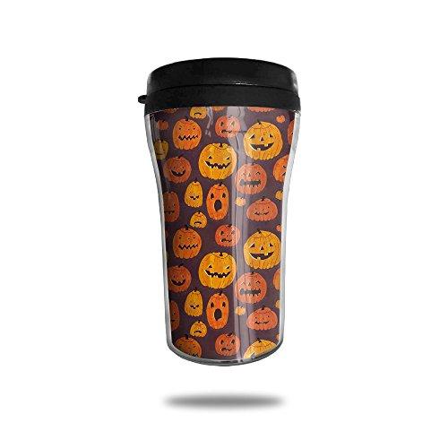 Gfae Cute Halloween Pumpkin Water-tight Double Wall Heat Insulation Flip Top Coffee Mugs Travel Cups Sports Drink Bottle 250ML (Halloween Coffee Drink Names)