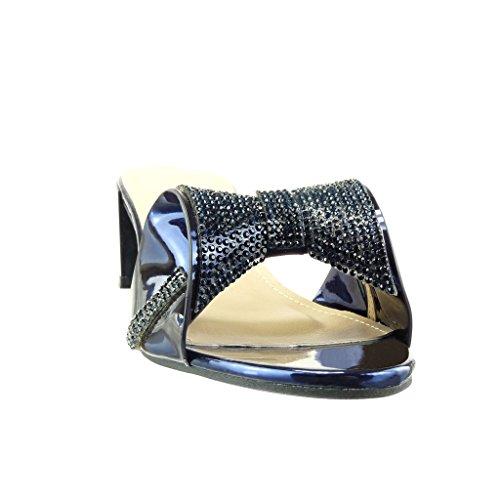 Angkorly Zapatillas de Moda Sandalias Chanclas Slip-On Mujer Pajarita Strass Talón Tacón Ancho Alto 5 cm - Azul