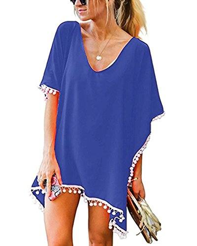 PTmonkey Women's Casual Beach Outfit Kaftan Dress Poncho Elegant Chiffon with Tassel (Navy) Compact Daily Easy Girls in Marine Type Slender Plain Design Skinny Muumuu Separate Summer Cover Ups