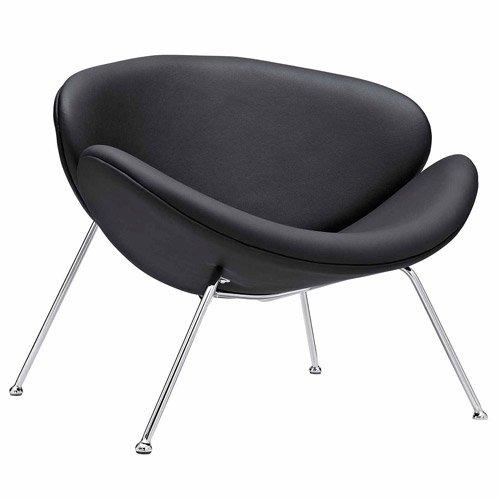 Sleek Nutshell Lounge Chair in Mid-Century Style with Padded Vynil Molded Cushions, Chrome Plated Metal Legs with Protective Floor Caps, No Assembly Required, Upholstered, Black + Expert Home Guide