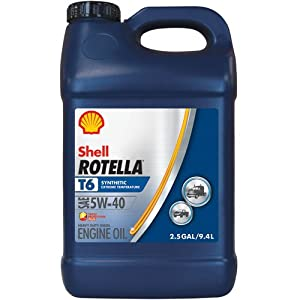 Shell Rotella T6 Full Synthetic Heavy Duty Engine Oil 5W-40, 2.5 Gallon Jug