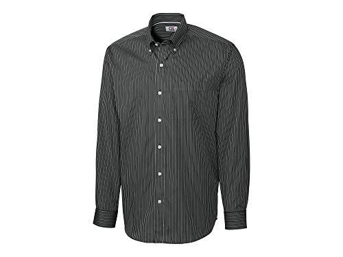 Cutter & Buck Men's Long Sleeve Epic Easy Care Pin-Stripe, Black/White, Large