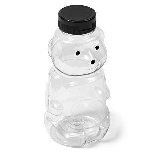 ((16) Clear PET - Honey Bear - 16 oz Black Flip Cap)