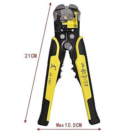 Pince /à D/énuder Automatique Acier 210mm 5 en 1 Outils /à D/énuder coupe cable 24 AWG d/écapage adjustable Jaune 1 AN GARANTIE