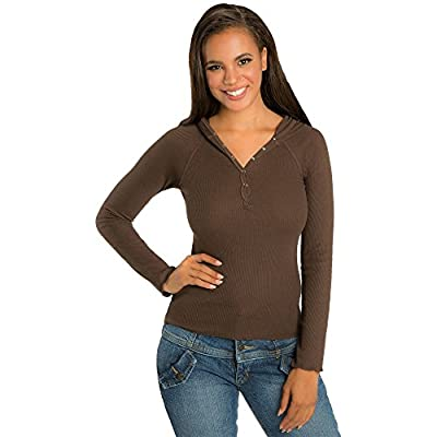 Sweet Vibes Young Women Thermal Snap Stretch Henley long sleeve Hoodie T-Shirt
