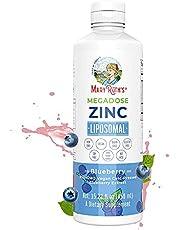 Megadose Zinc Liposomal by MaryRuth's (Blueberry)   Enhanced Absorption Liquid Zinc   Immune Health Supplement for Men & Women   Vegan, Gluten Free, Sugar Free, Non-GMO   15.22oz